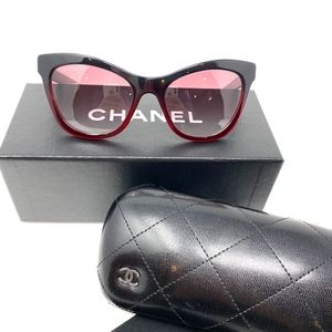 Chanel Black Gradient Red Cat Eye Sunglasses